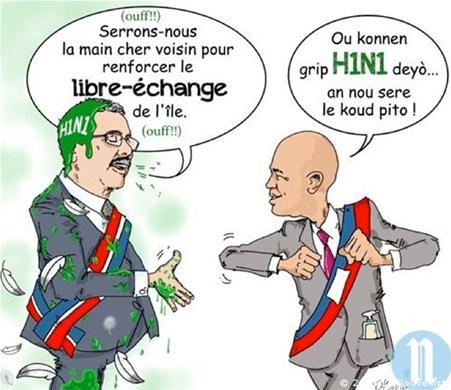 """En una caricatura publicada en el periódico Le Nouvelliste, el presidente Danilo Medina, que aparece embarrado del supuesto virusAH1N1 y con plumas a su alrededor, dice en francés: """"Estrechémonos la mano querido vecino para reforzar el intercambio en la isla"""". Elpresidente de Haití, Michel Martelly, responde en créole: """"Usted sabe que la gripe H1N1 anda por allí… ¡Prefiero estrecharle el codo!""""."""