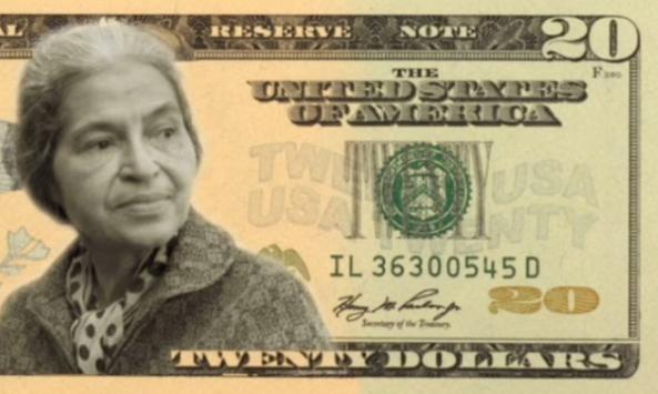 Reproducción de un billete de 20 dólares con la imagen de Rosa Parks, famosa activista contra la segregación racial, quien hace parte del grupo de cuatro mujeres preseleccionadas como candidatas reemplazar a Andrew Jackson a través de una votación para formular una petición popular a la Casa Blanca. EFE