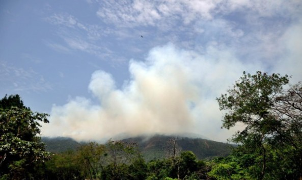 Un incendio afecta a Loma Miranda. Fotos: Aneudy Tavarez